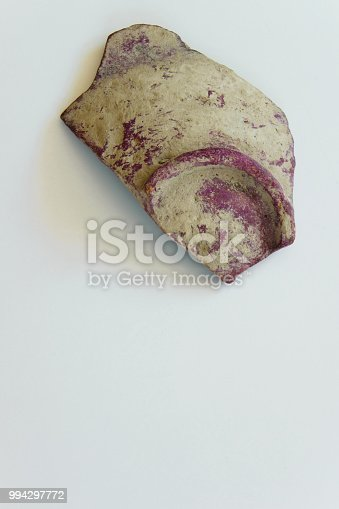 106415613istockphoto Piece of an antique ceramic bowl on white background, space for text 994297772