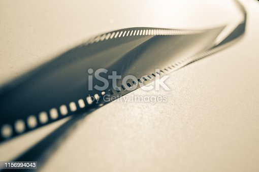 piece of an empty film on light surface