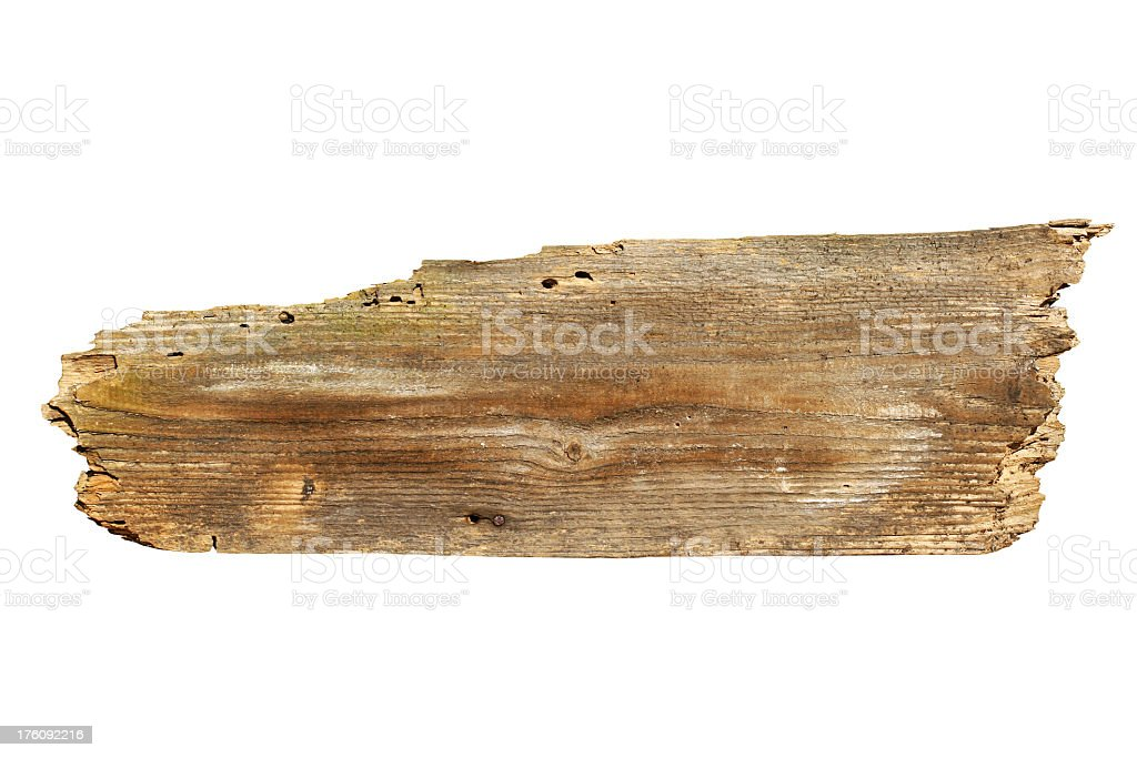 Piece of an old board on a white background stock photo