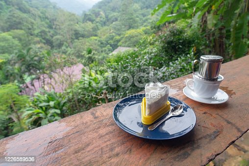 885959540 istock photo Piece of cake and drink in cup with forest background 1226589536