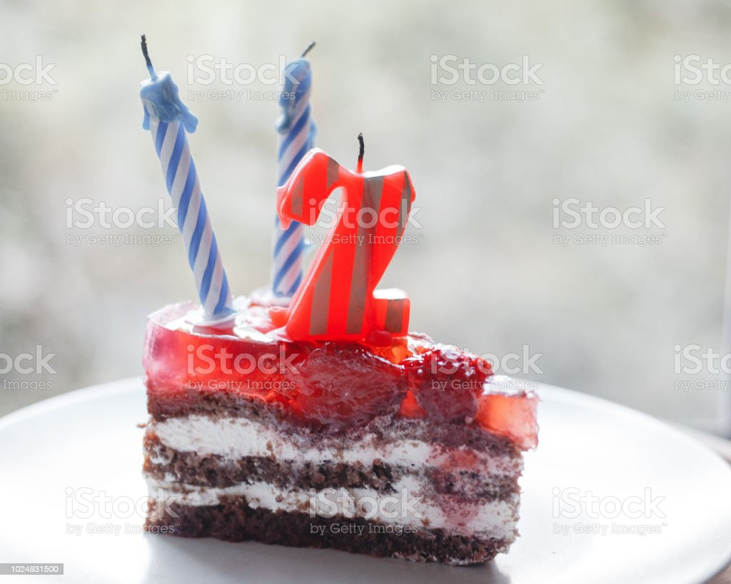 Piece Of Cake And Two Candles Candle Number 2 Royalty Free Stock