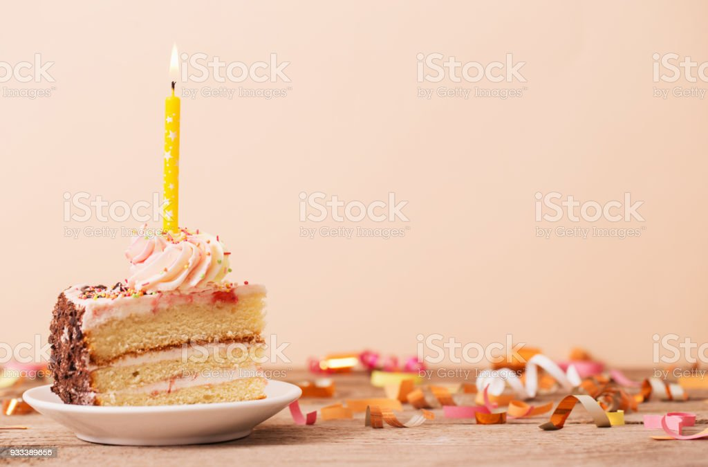 Birthday Cake Candles Buttercream Candle Piece Of On A Wooden Table