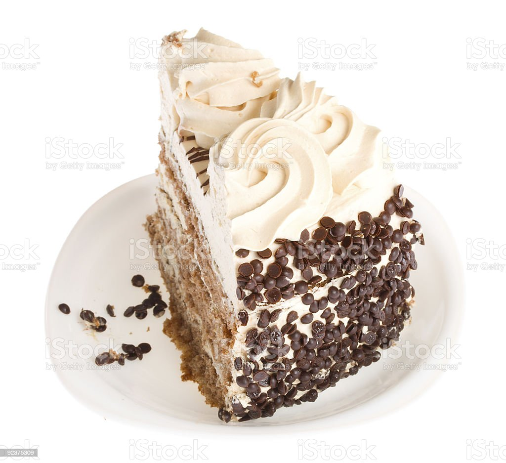 piece of cake on white plate royalty-free stock photo