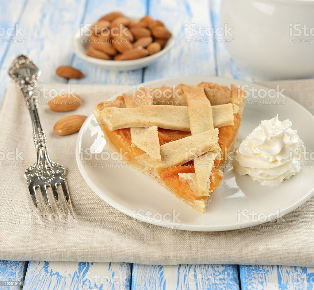 Piece of cake with apricots royalty-free stock photo