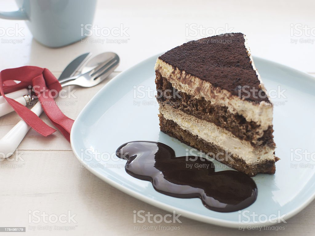 Piece of cake with chocolate fudge royalty-free stock photo