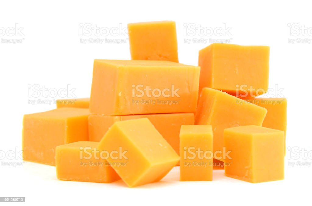 piece of cheese isolated on a white background stock photo