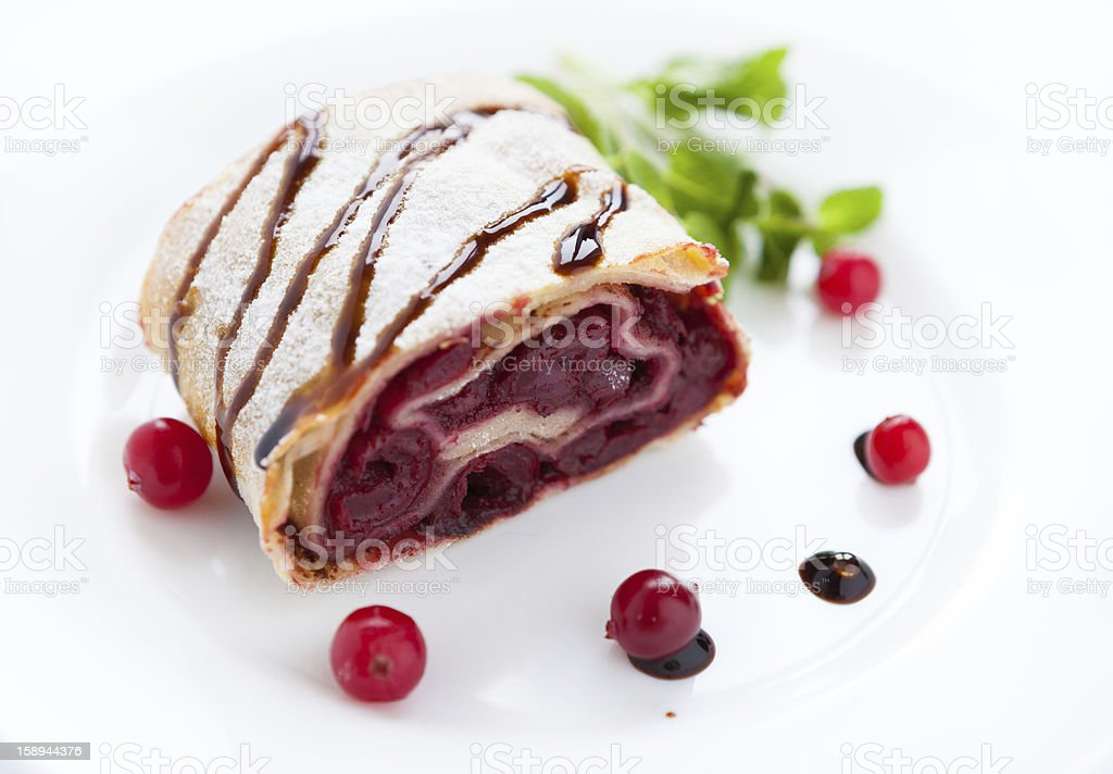 piece of cherry pie with cranberries on a white plate royalty-free stock photo