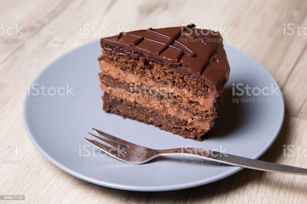 Piece of chocolate cake Prague. Homemade baking. stock photo