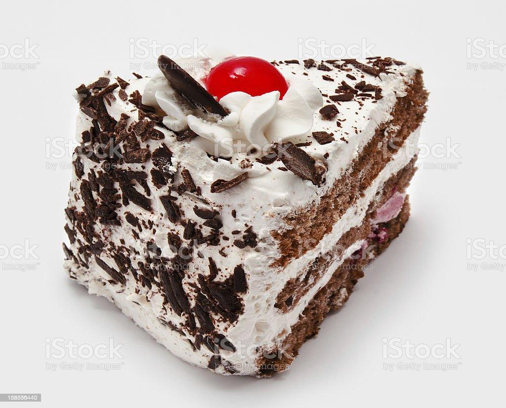 평하 초콜릿 케이크, 체리 격리됨에 royalty-free 스톡 사진