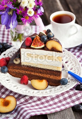 472311978 istock photo Piece of chocolate cake with cream and fresh fruit 521895473