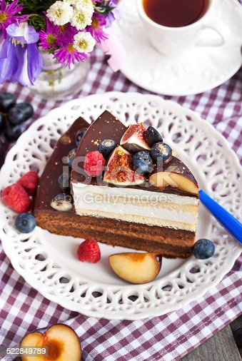 472311978 istock photo Piece of chocolate cake with cream and fresh fruit 522849789