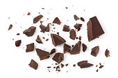 piece of chocolate isolated on white background with clipping path.. Top view. Flat lay