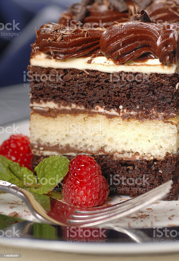 Piece of chocolate layer cake with raspberries and fudge frosting royalty-free stock photo