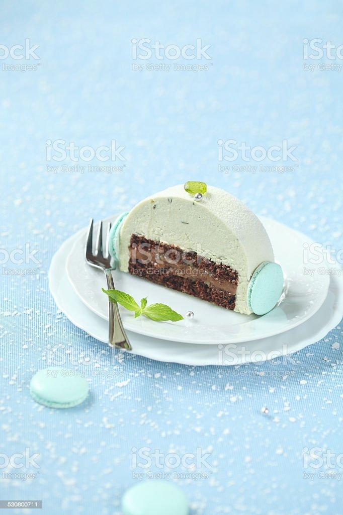 Piece of Christmas Mint Chocolate Yule Log stock photo