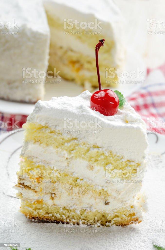 Piece of coconut cake on white plate. - foto de acervo