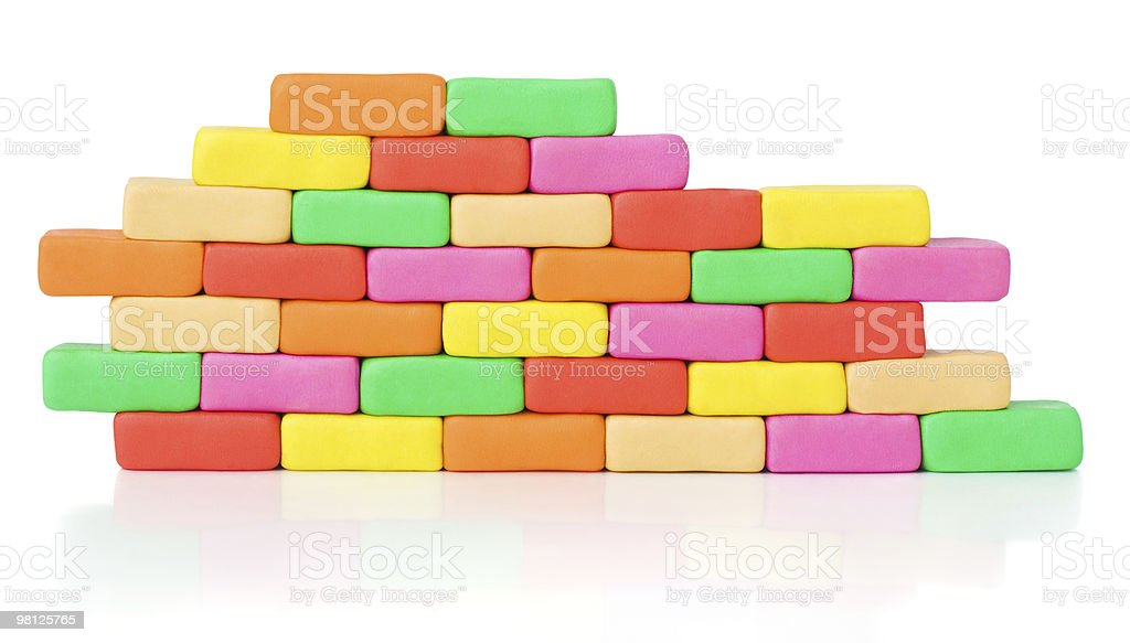 Piece of colorful bricks wall. Pattern. Clipping path royalty-free stock photo