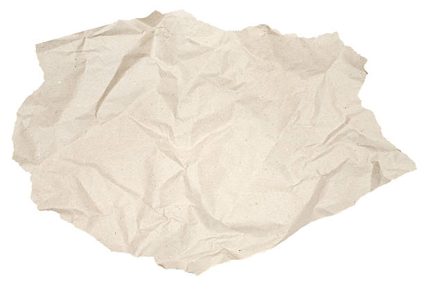 Piece of Crumpled Brown Paper stock photo