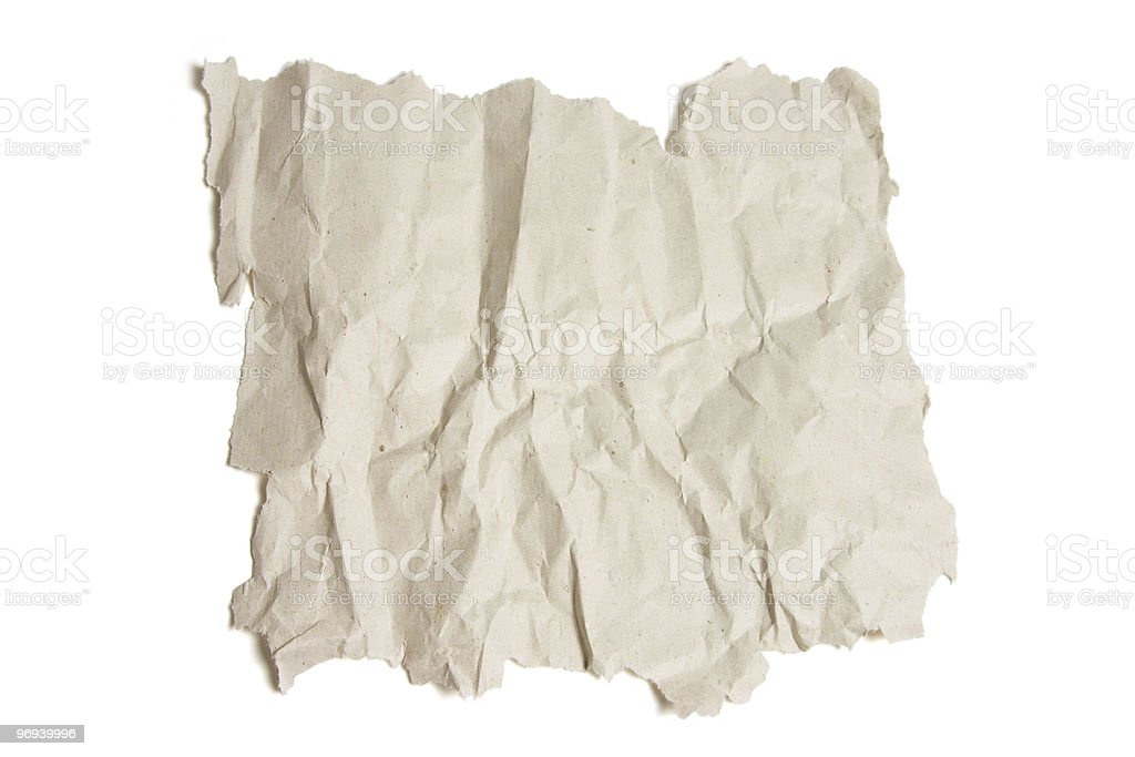 Piece of Crumpled Paper royalty-free stock photo