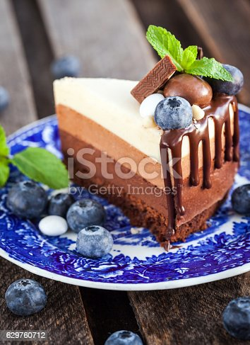 480972628 istock photo Piece of delicious chocolate mousse cake 629760712