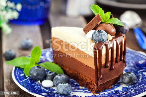 480972628 istock photo Piece of delicious chocolate mousse cake 629760842