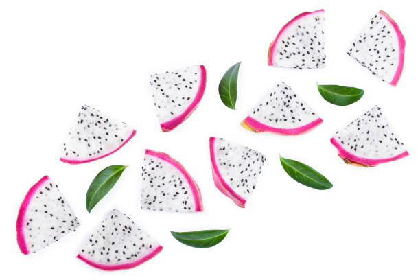 piece of Dragon fruit, Pitaya or Pitahaya with leaves isolated on white background with copy space for your text. Top view. Flat lay piece of Dragon fruit, Pitaya or Pitahaya with leaves isolated on white background with copy space for your text. Top view. Flat lay. pitaya stock pictures, royalty-free photos & images