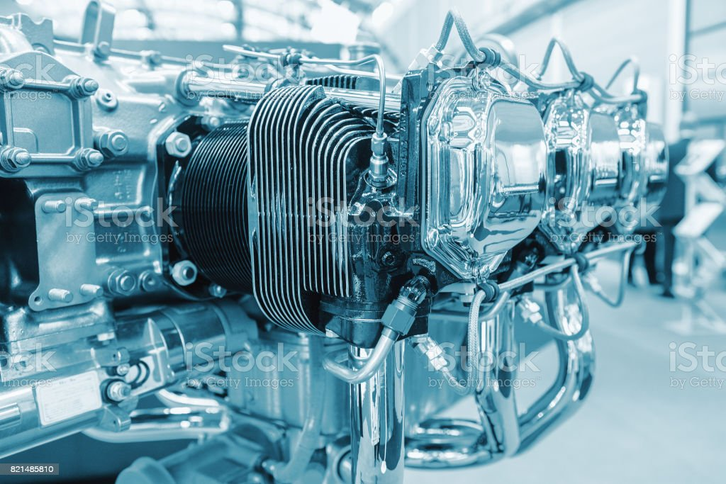 Piece of equipment of the aircraft engine closeup, a aircraft engine detail in the exposition stock photo