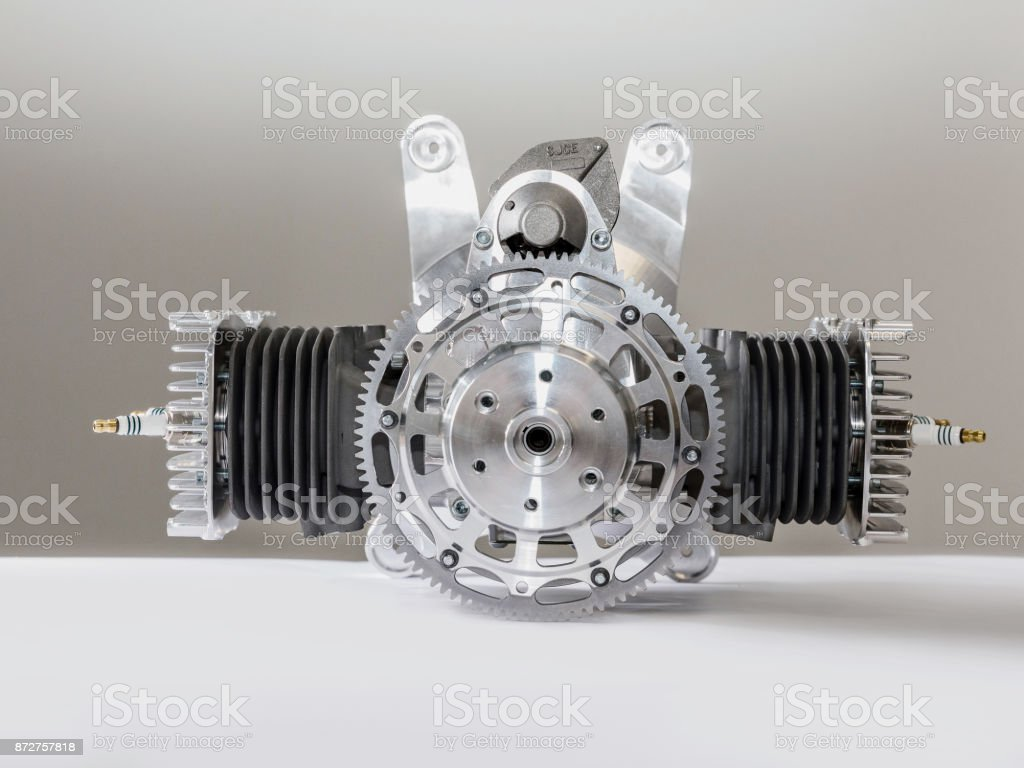 Piece of equipment of the aircraft engine closeup stock photo