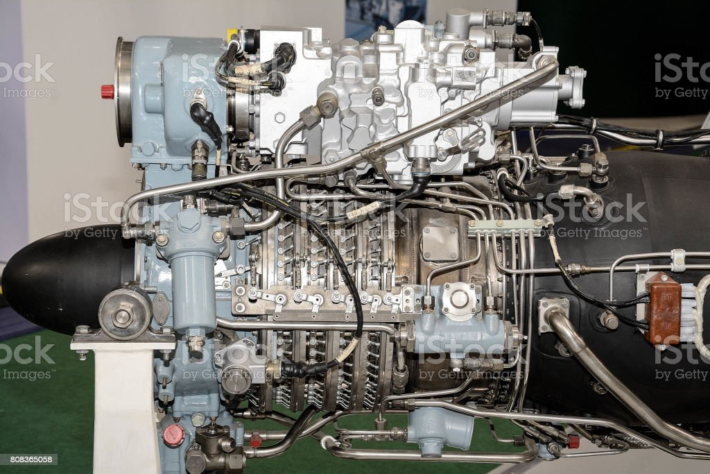Piece of equipment of the aircraft engine stock photo
