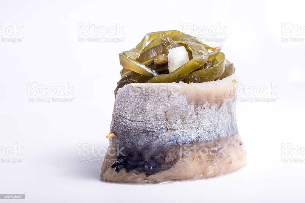 piece of fish on a white background, photo studio, isolated stock photo