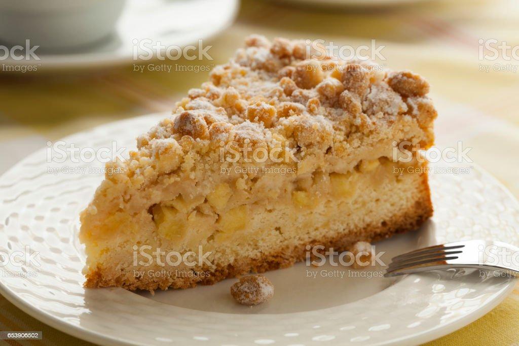 Piece of fresh homemade apple pie stock photo