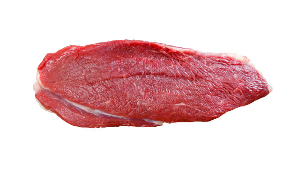 Piece of fresh raw meat on a white background stock photo