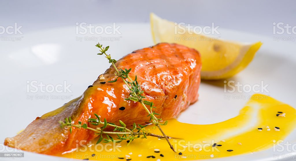 piece of grilled salmon stock photo