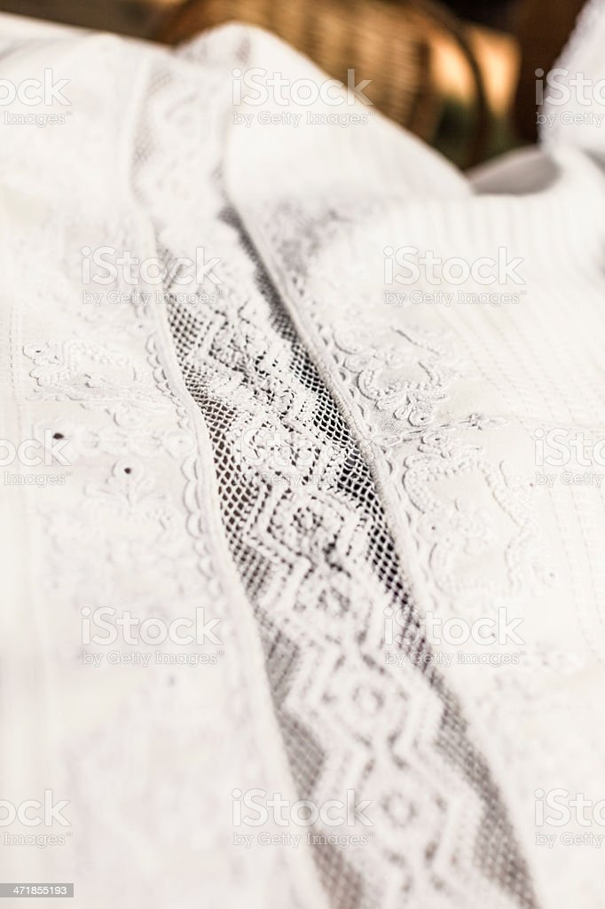 Piece of hand-made lace royalty-free stock photo