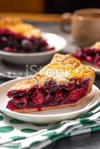 Piece of homemade cherry pie on a white plate close-up. Selective focus, dark background.