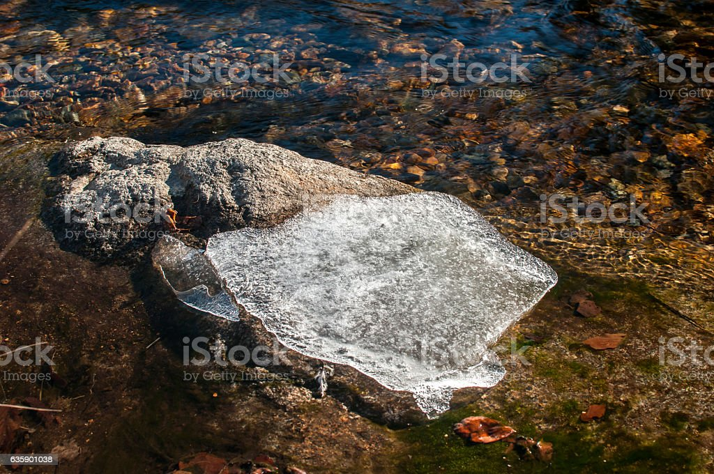 Piece of ice in winter river stock photo