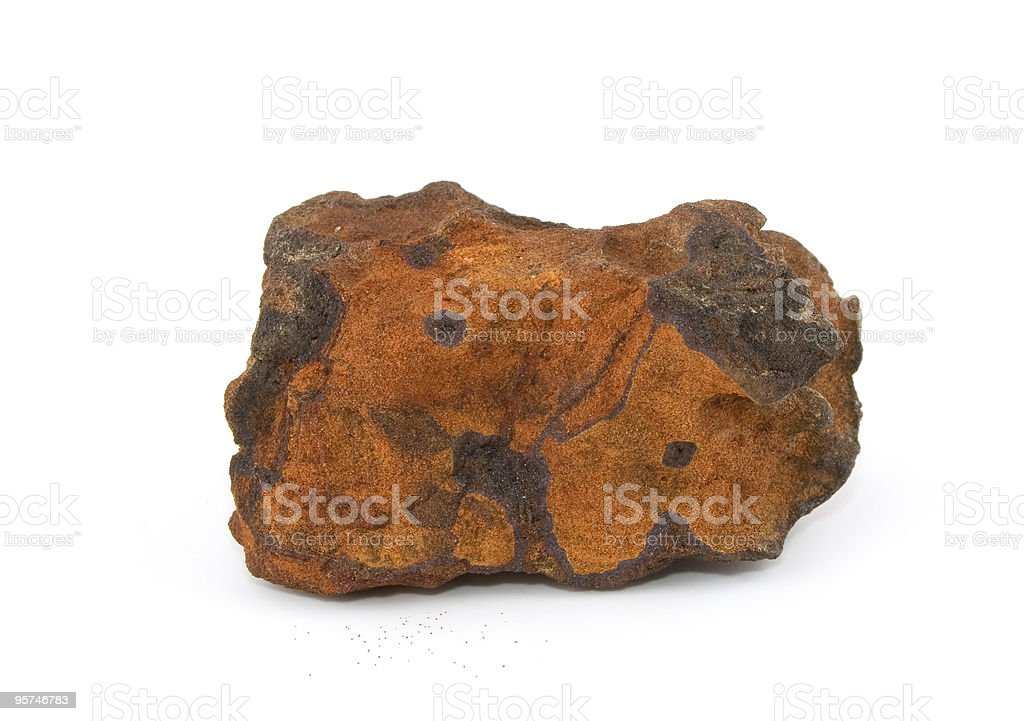 Piece of iron ore isolated on a white background stock photo
