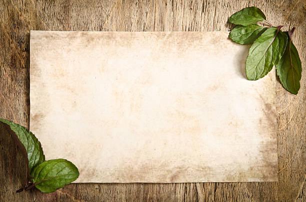 fragmentu starego papieru na drewnianym stole z liści mięty zielonej - historycyzm zdjęcia i obrazy z banku zdjęć