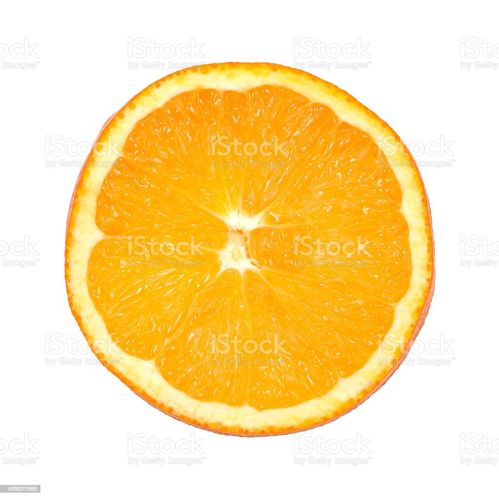 Piece of orange isolated on white stock photo