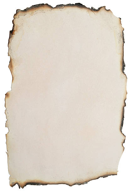 a piece of paper burnt around the edges - verbrand stockfoto's en -beelden