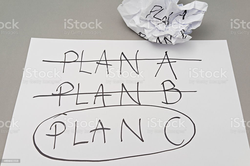 A piece of paper showing that plan C was the best option  stock photo