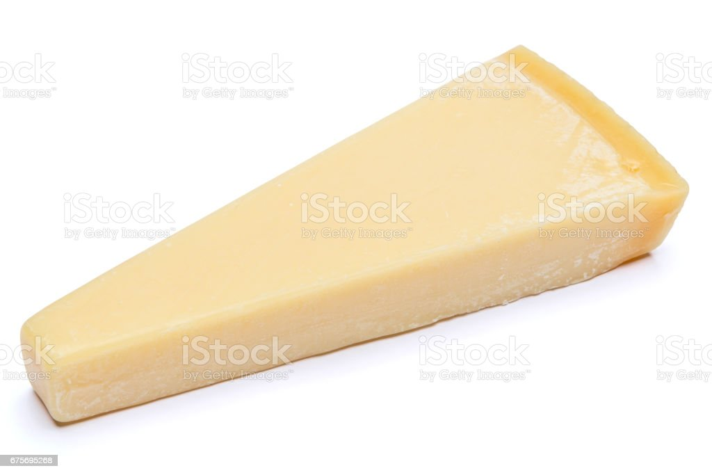 Piece of parmesan cheese isolated on white background royalty-free stock photo