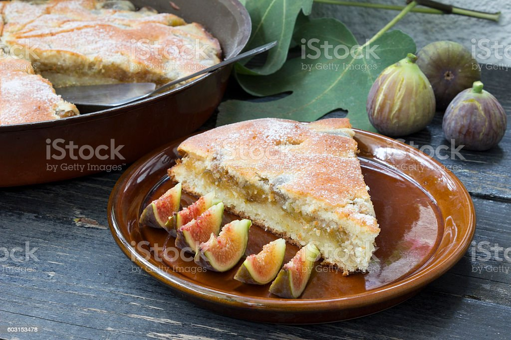 Piece of pie with figs stock photo