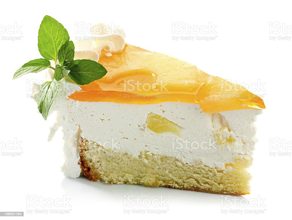 Piece of pineapple cake cream and mint leaves isolated royalty-free stock photo