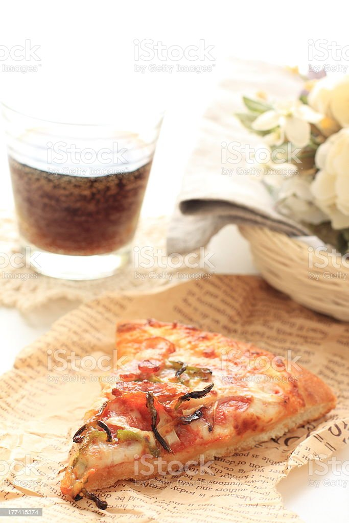Piece of Pizza on no brand wrapping paper royalty-free stock photo