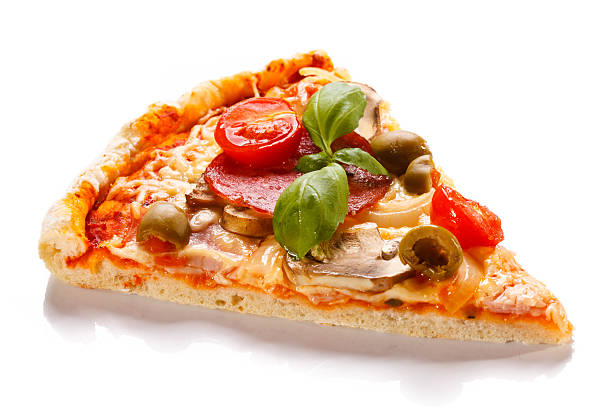 Piece of pizza on white background stock photo