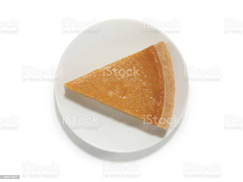 Piece of Pumpkin Pie on a Saucer stock photo