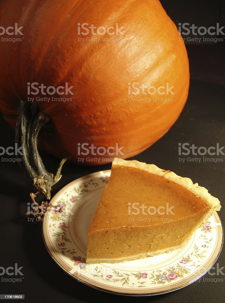 Piece of pumpkin Pie royalty-free stock photo