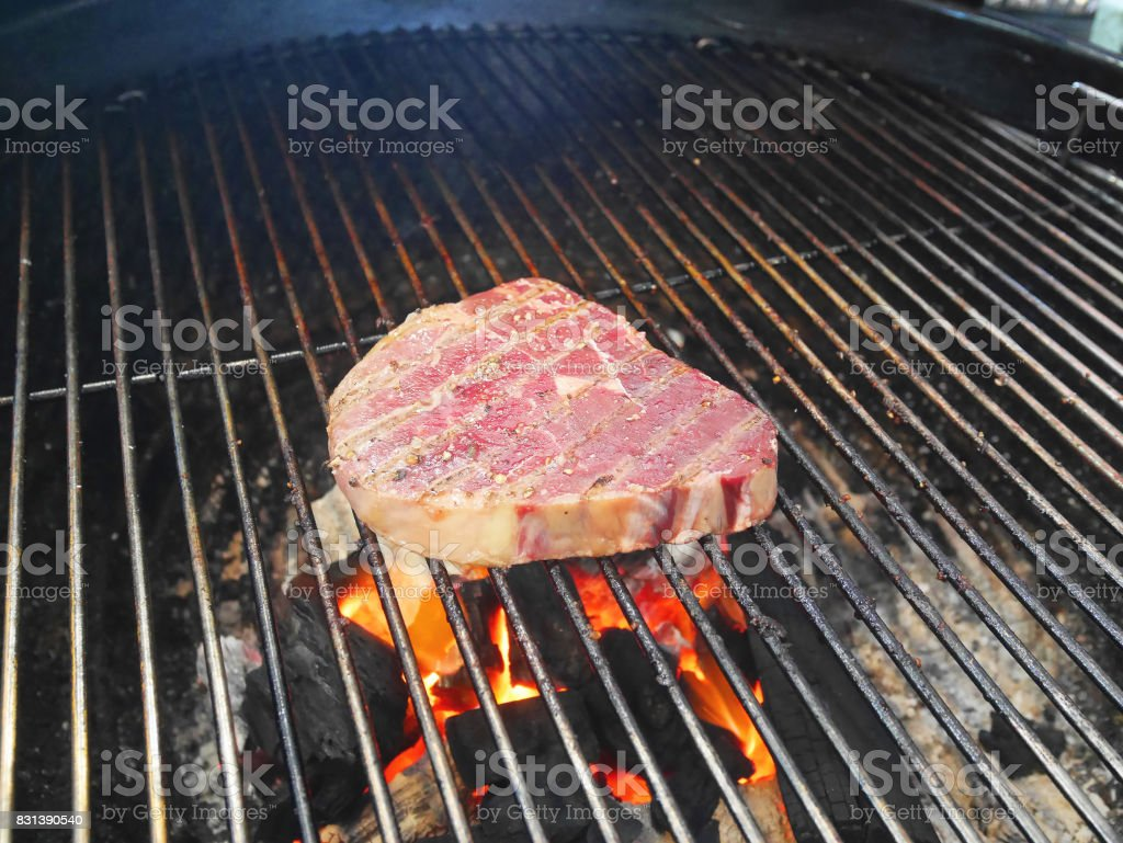 Piece of raw pork on picnic barbecue grill oven being cooked. stock photo