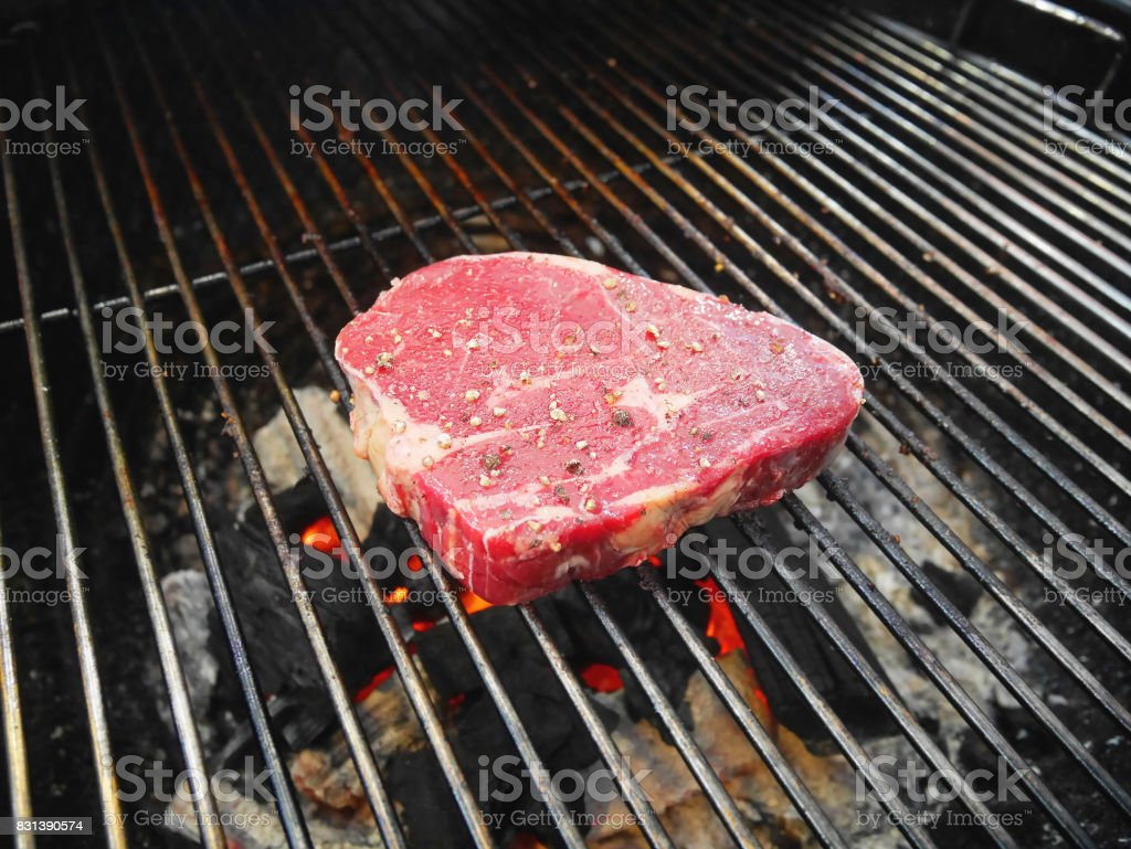 Piece of raw pork on picnic barbecue grill oven waiting to be cooked. stock photo