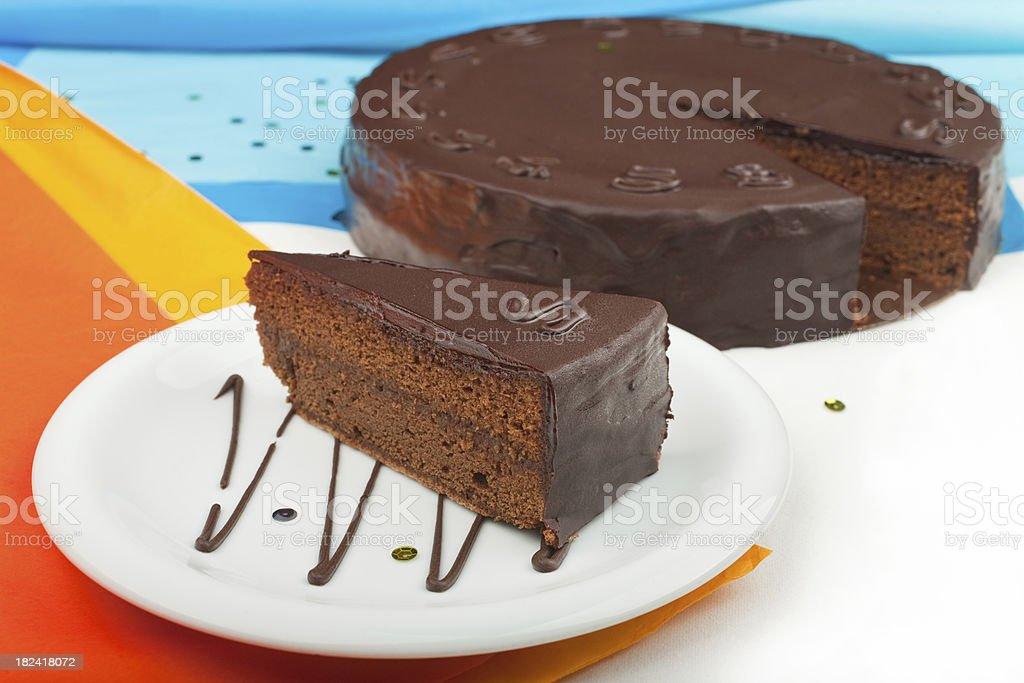 Piece of Sacher Cake stock photo